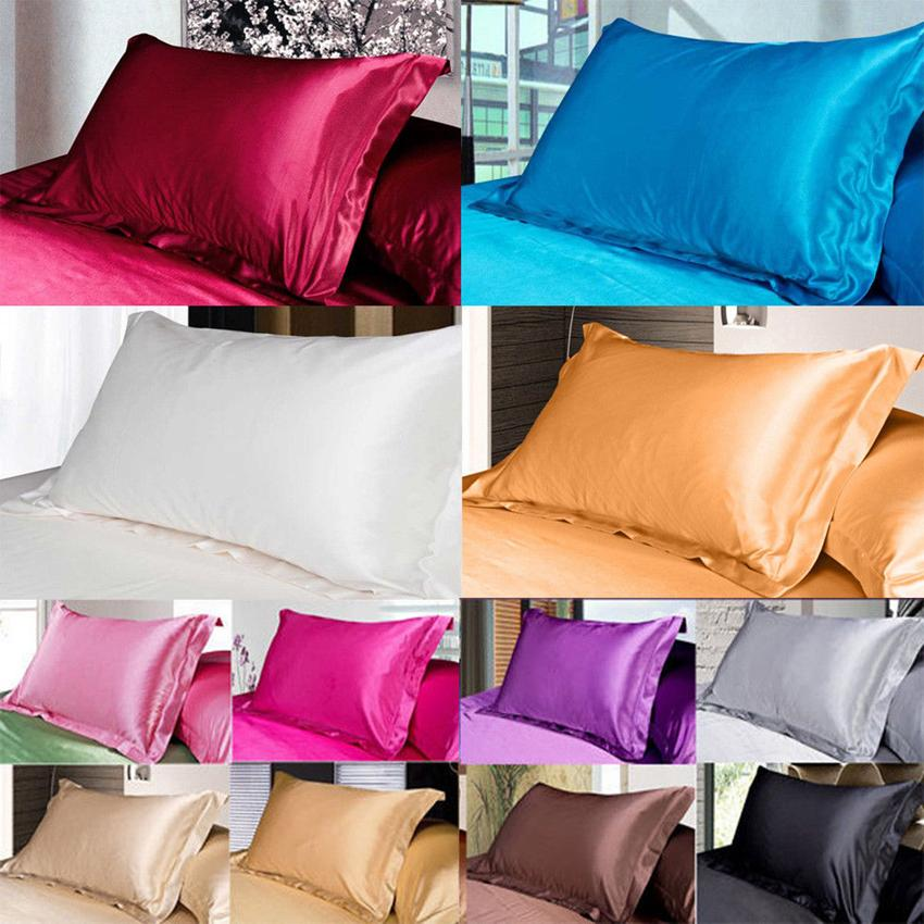 Solid Color Silk PillowCases Double Face Envelope Design Pillow Case High Quality Charmeuse Silk Satin Pillow Cover GGA100