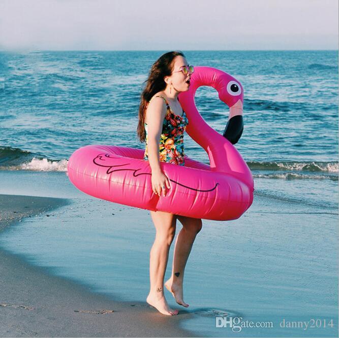 120cm 60 polegadas inflável gigante Flamingo Piscina Toy Float inflável rosa vermelha bonito Ride-On rosquinhas de natação Anel Floats