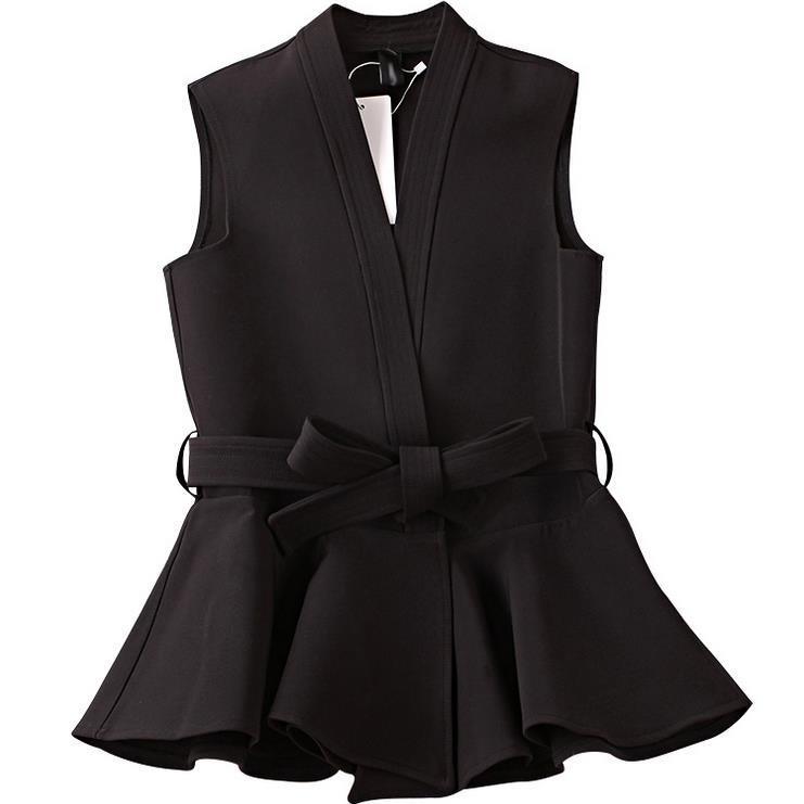2017 nouveau printemps et l'automne femmes veste avec ceinture volants gilet gilet femme casual ol manteau