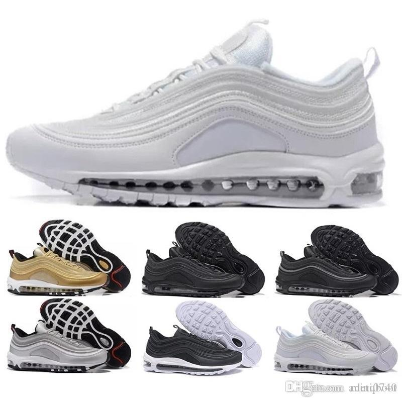 best service 835ab 6efe0 Acquista Nike Air Max 97 Airmax 97 Scarpe Triple Bianco Nero Scarpe Casual  Og Metallic Gold Silver Bullet Mens Trainer Sport Donna Scarpe Sneakers Air  36 45 ...