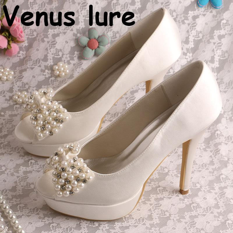 Pearl White Peep Toe Bridal Shoes Platform High Heel Bridesmaid Shoes  Online with  96.16 Piece on Yigu008 s Store  28c475ea1a04