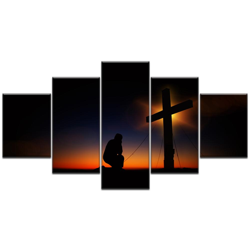 2018 Large Size Canvas Prints Wall Art Bow Down Christian Cross In