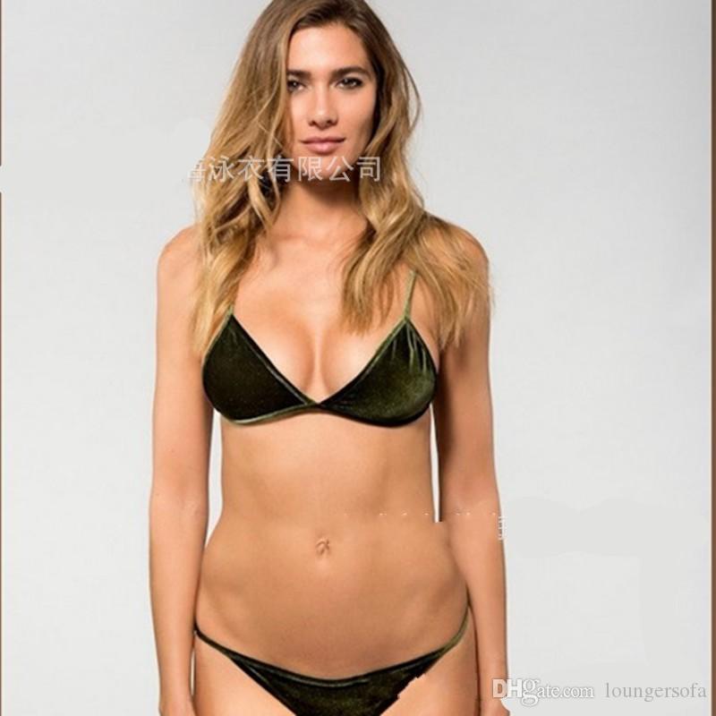 Kadınlar Koyu Yeşil Turuncu Altın Kadife Bikini Setleri Mayo Lady Seksi Mayo Plaj Kıyafeti Iki Parça Suits 23cs W