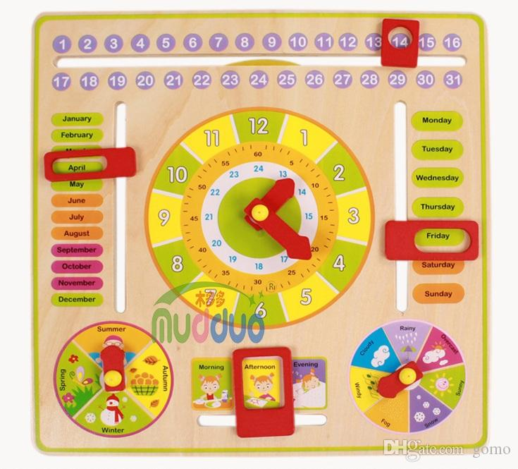 Baby Wooden Toys Children's Educational Toys Wooden Clock Intelligence Learning Developmental Versatile Flap Abacus Kids Gift