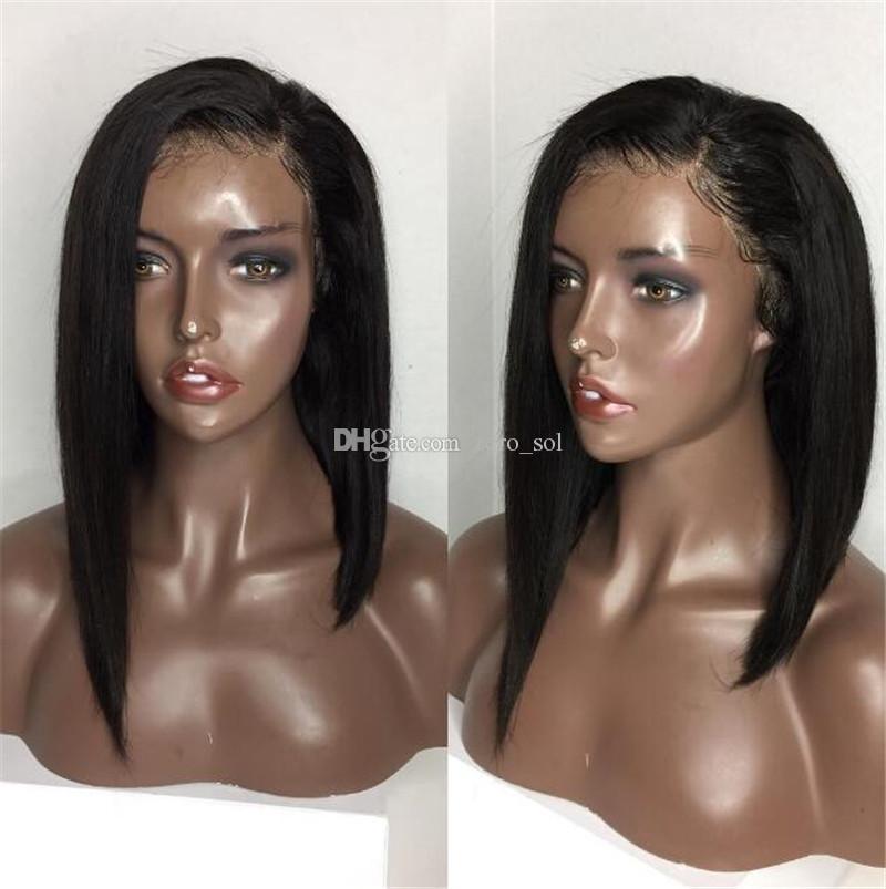 Perruque Lace Front cheveux brésiliens Indien malais du Pérou Cheveux Vierge de dentelle perruque cheveux courts Bob humaine Perruques