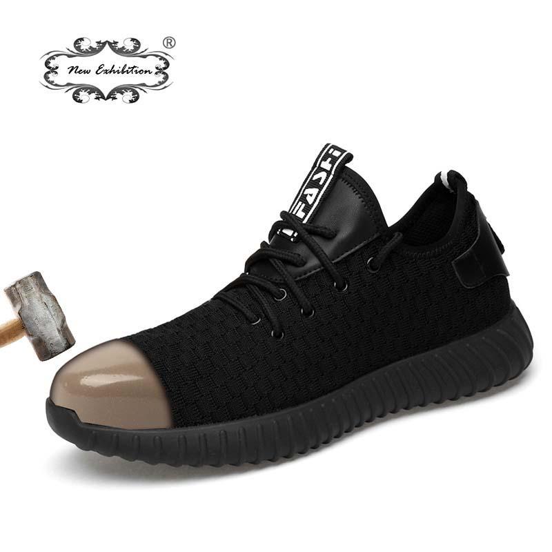 ea519c0ac0f01 Acheter Nouvelle Exposition Hommes Mode Chaussures De Sécurité Respirant  Tissé Volant Anti Briser Les Embouts En Acier Anti Piercing Fibre Hommes  Travail ...