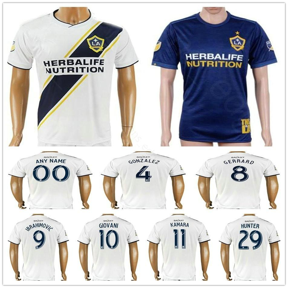 Camiseta De Fútbol De Los Angeles Galaxy COLE 4 GONZALEZ 7 KEANE 8 GERRARD  9 IBRAHIMOVIC 10 GIOVANI DONOVAN 11 KAMARA Camiseta De Fútbol Personalizada  Por ... 2141d42088195