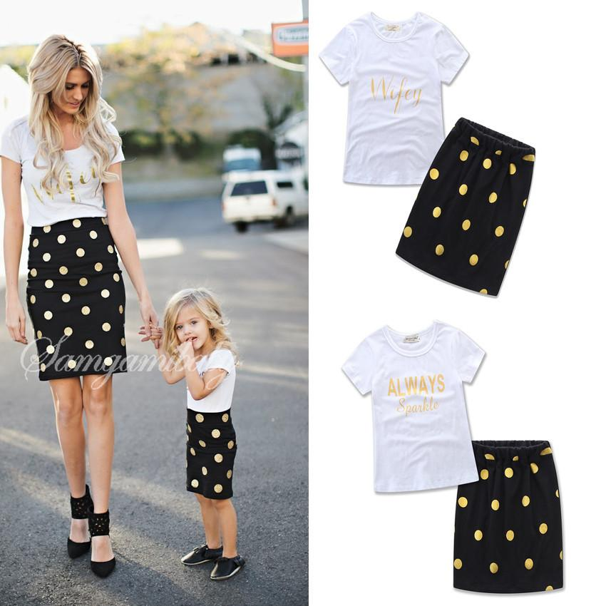 2018 Summer Mother Daughter INS Dress Suits Girls Kids Set Letter White T Shirt Dots Skirt Suit Family Matching Outfits Clothes