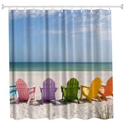 2018 Multicolored Beach Chair Polyester Shower Curtain Bathroom High Definition 3D Printing Water Proof From Xuxiaoniu5 1752