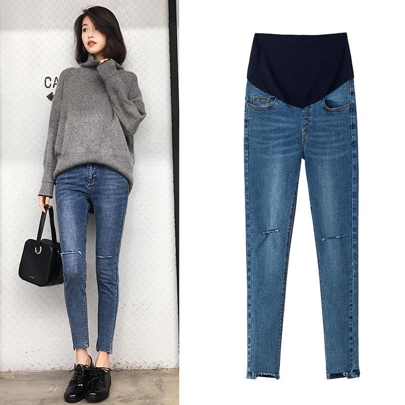 c28a8b936 Compre 9 10 Longitud Rasgado Agujero Denim Jeans De Maternidad Ropa De Moda  De Otoño De Verano Para Mujeres Embarazadas Embarazo Vientre Pantalones A   21.91 ...