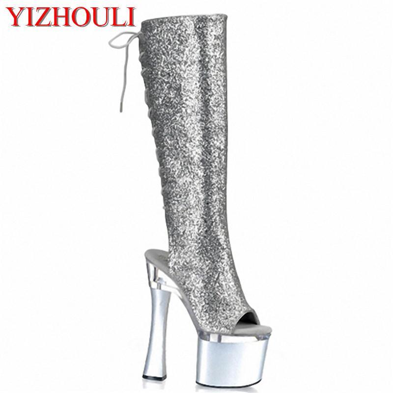 45826daf6dd Compre Boca De Pez Bagmail De 18 Cm Plateada Con Tacones Altos Y Botas Altas,  Zapatos De Mujer No Convencionales, Zapatos De Baile De Tacón Club A $155.0  ...