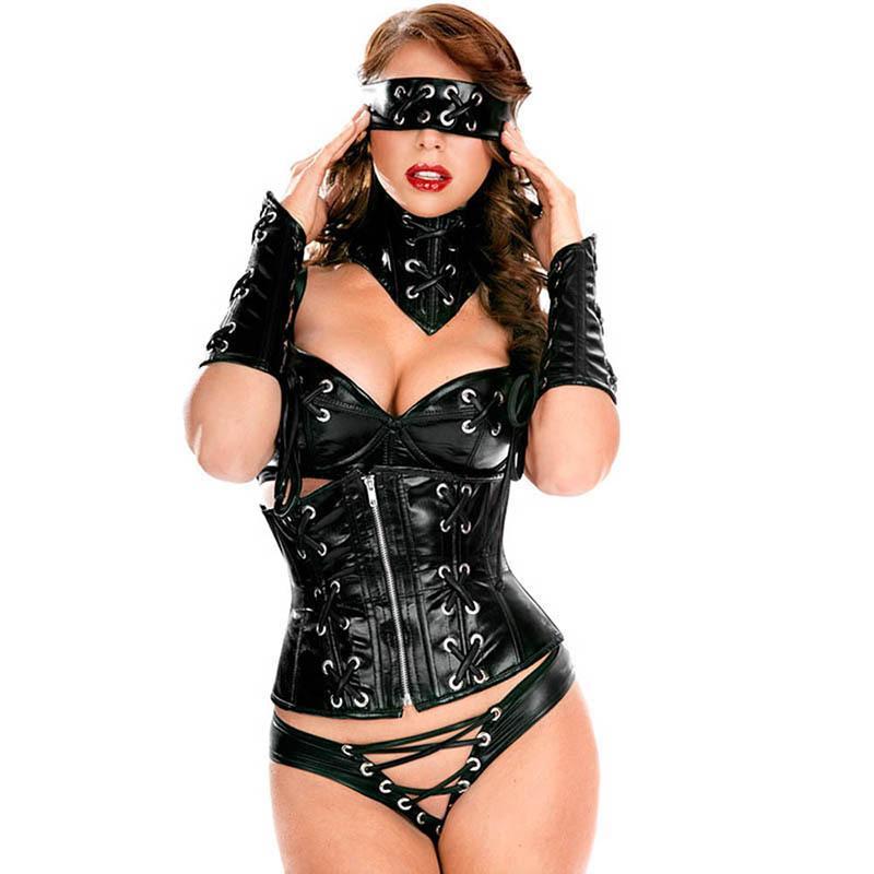 c748b43aa110 Acheter 6 Pièces Noir En Cuir PVC Costumes Adulte Costume Sexy Halloween  Party Pole Danse Tenue Femmes Cosplay Club Érotique Lingerie Ensemble De   55.05 Du ...