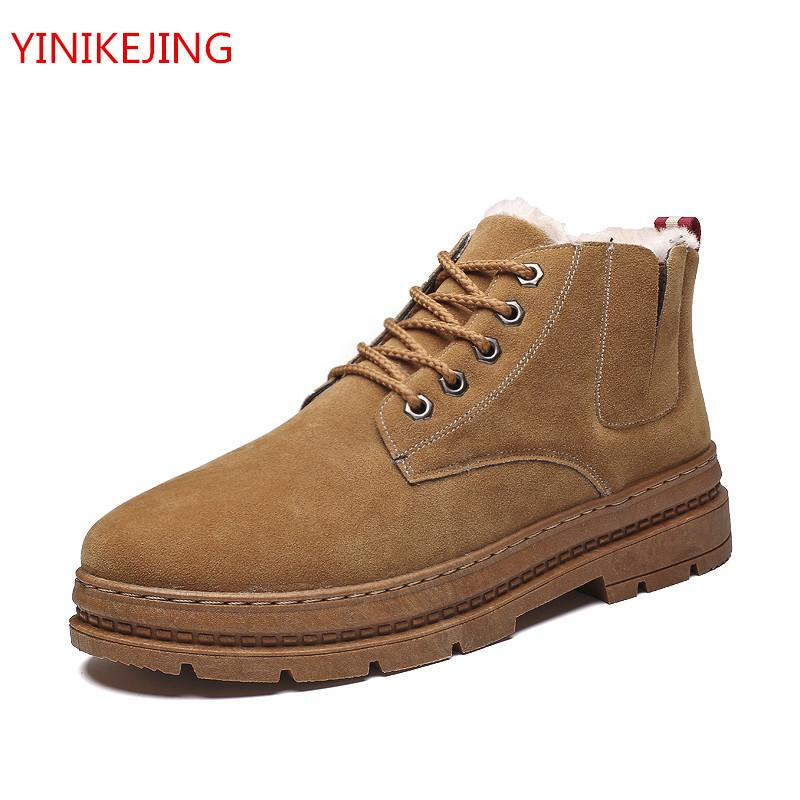 Männer rutschfeste Stiefel Warm Bequeme Arbeitsschuhe Retro Winter Schnee Stiefel Wohnungen Mode Schuhe Hohe Baumwolle Plüsch Warmhalten