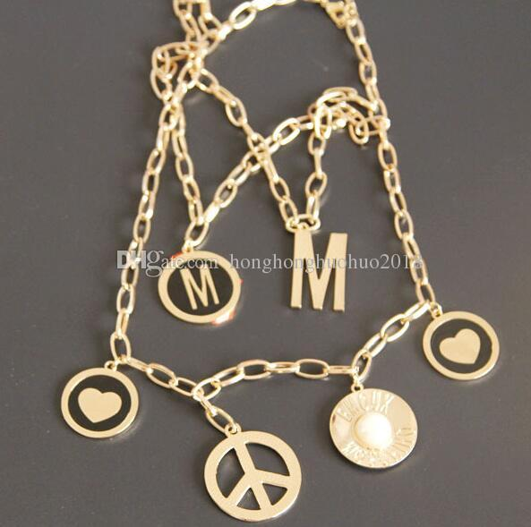 New big M show model letters fashion necklace Multi-layer metal short necklace clavicle