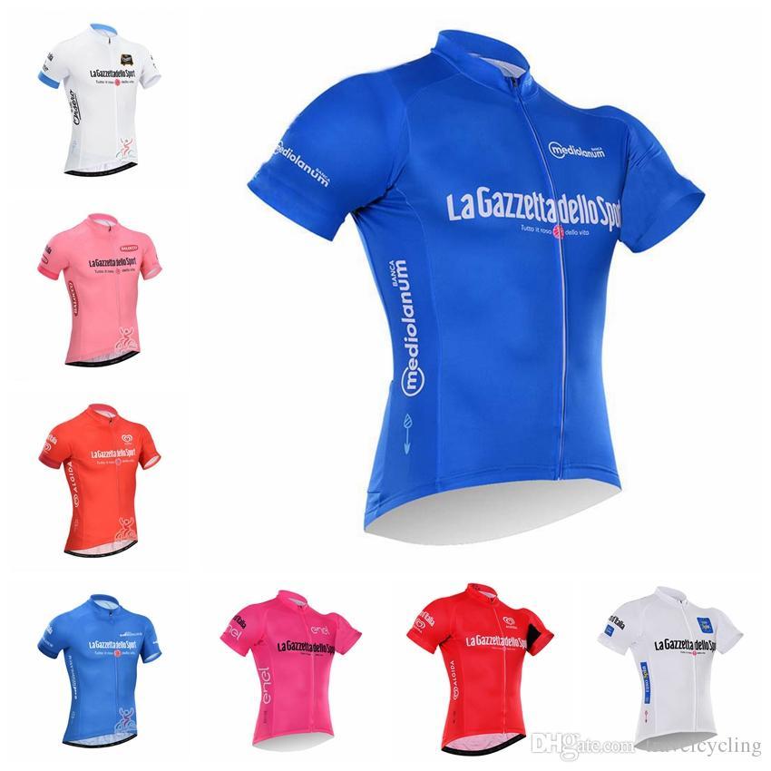 821eea442 2018 Men Cycling Jersey Short Sleeve Summer Racing Shirts Bike Wear  Comfortable Breathable TOUR DE ITALIA Cycling Clothes 92309Y V Neck T Shirts  For Men Bib ...