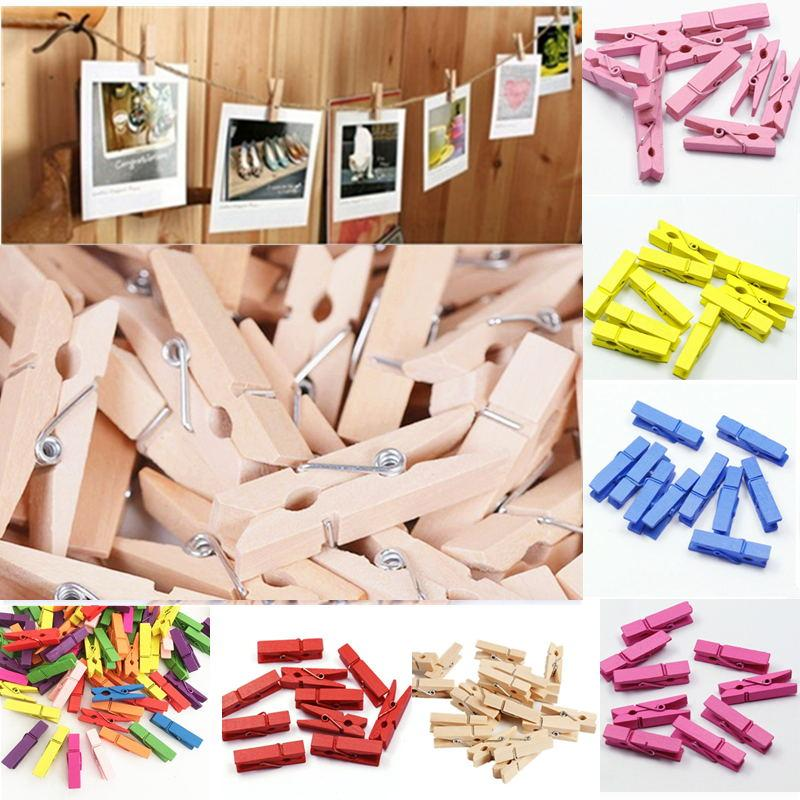 Hot Sale Wooden Clothes Photo Paper Peg Pin Clothespin Craft Clips School Office Stationery Wedding Party Natural Clip 357 Mm