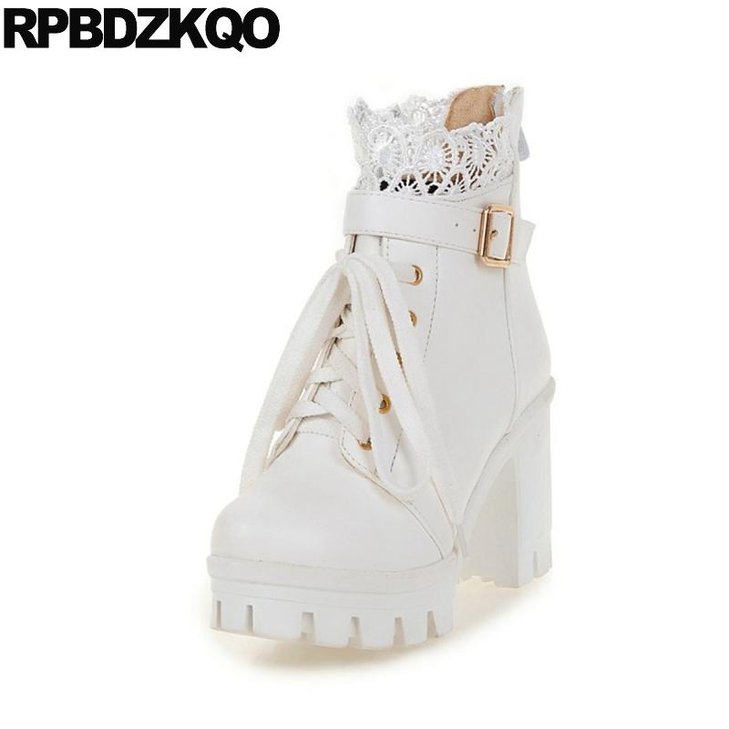 High Heel Round Toe Lace Ankle 2017 Waterproof White Platform Boots Cheap Booties Shoes Short Belts Up 11 Size 10 43 Big Kawaii