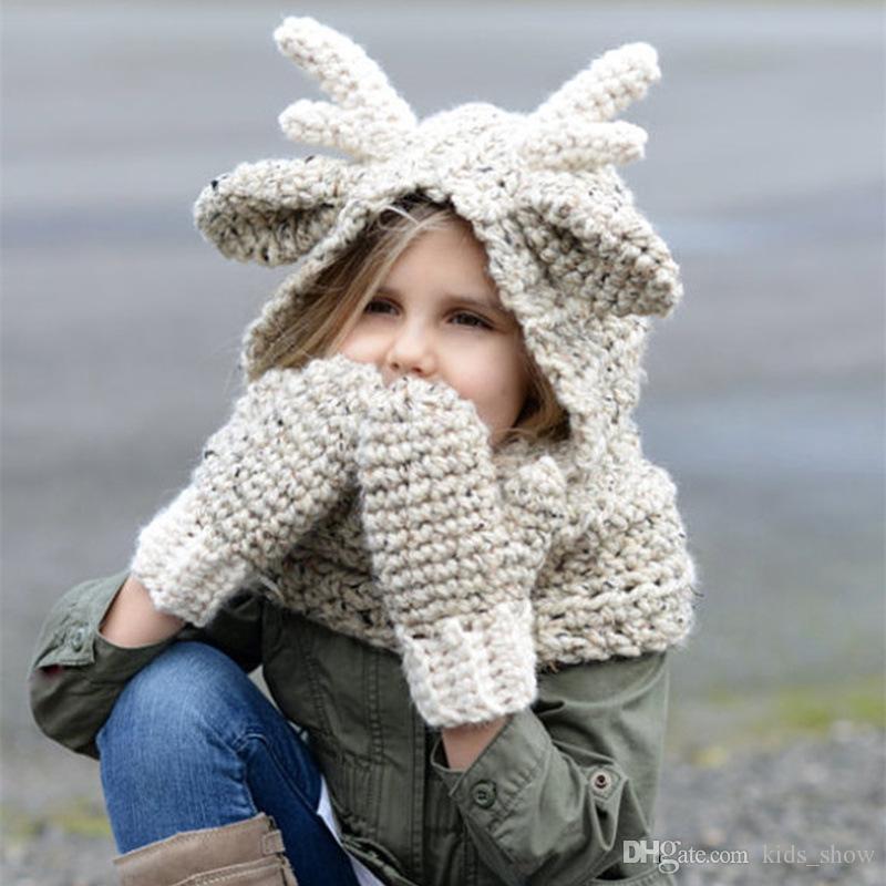 Großhandel Kinder Elch Mit Kapuze Schal Hut Wolle Gestrickt Häkeln