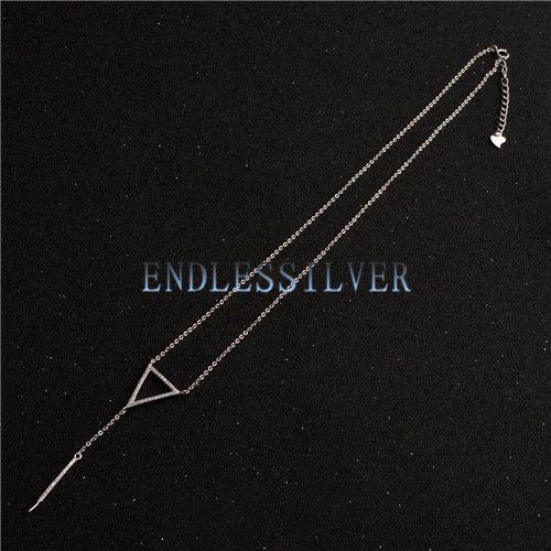 Configuraciones de collar para gota de perla colgante de plata de ley 925 circón triángulo collar cadena para fiesta de perlas