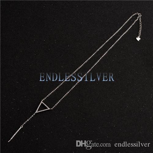 Réglages du collier pour pendentif en perle en argent sterling 925 avec chaîne en forme de triangle Triangle