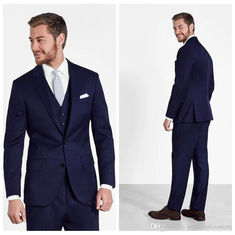 2018 Formal Navy Blue Wedding Tuxedos Business Suits For Men Slim ...