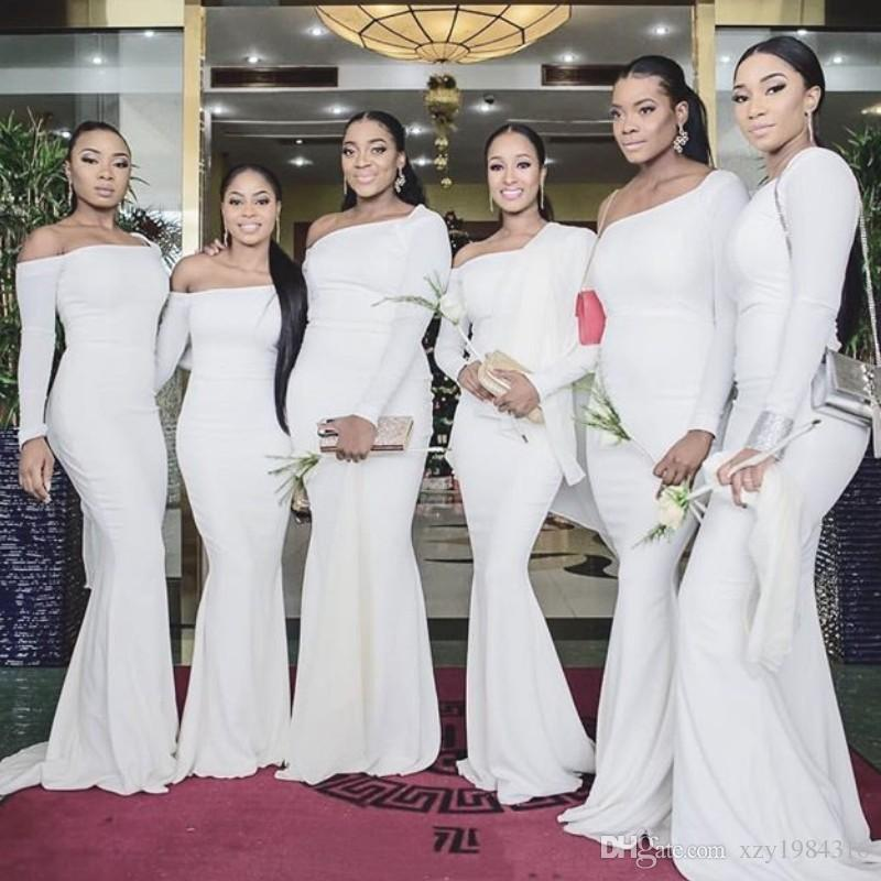 Fashion One Shoulder Birdesmaids Dresses Sexy Long Sleeves Satin ...