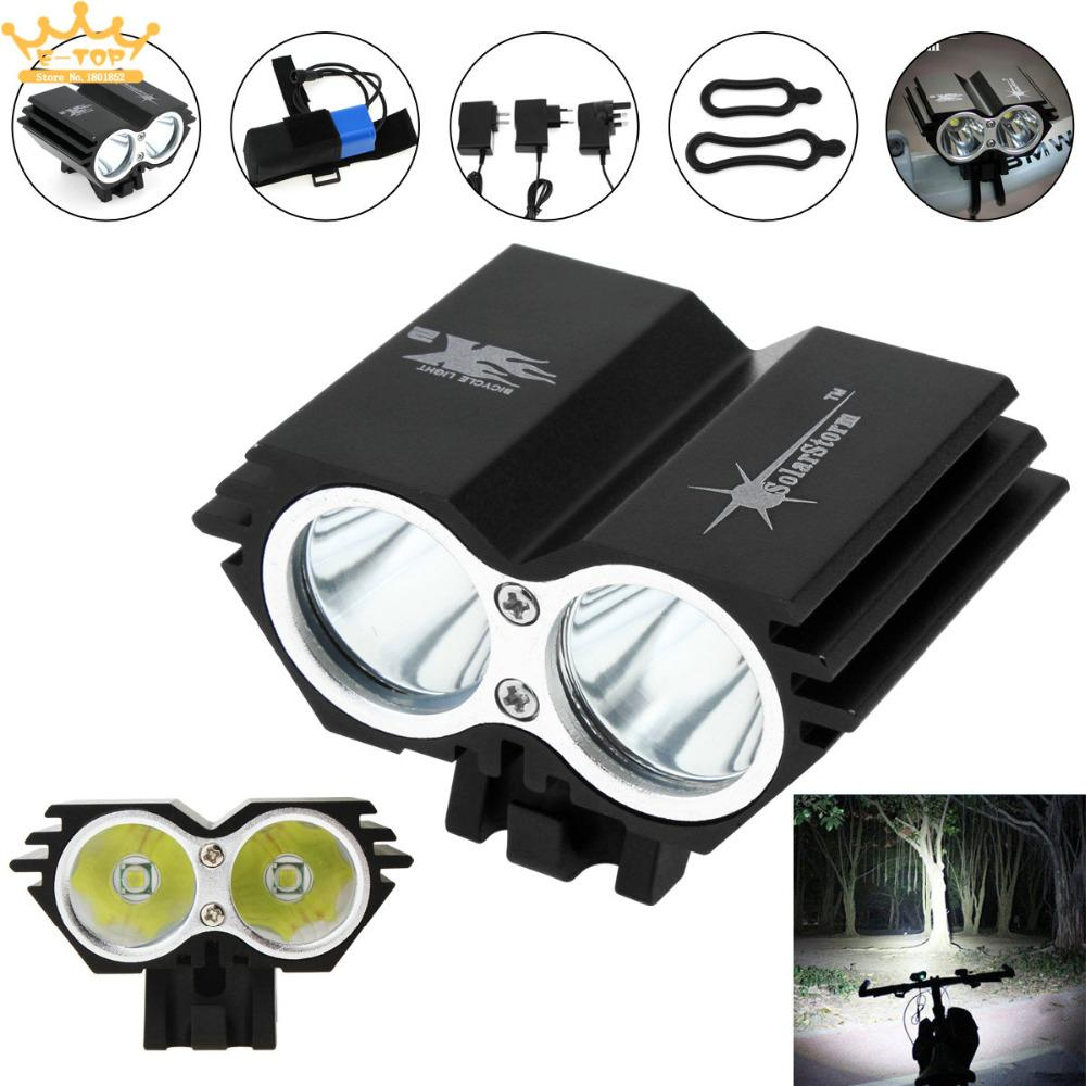SolarStorm 5000LM X2 XM-L T6 Waterproof Bicycle LED Headlight with Battery US