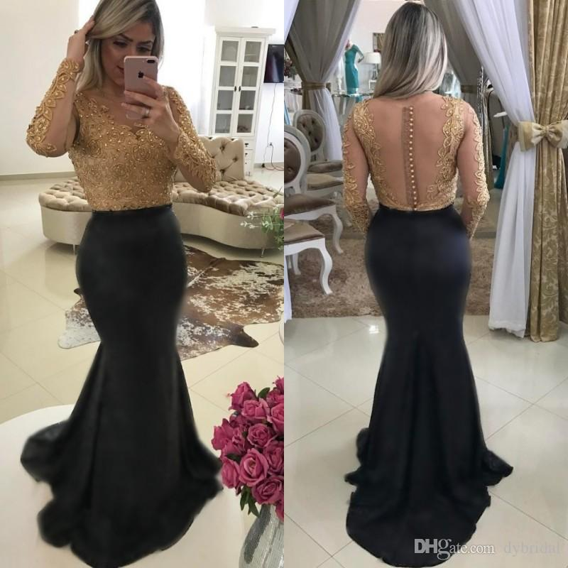 2018 sexy cheap plus size african mermaid prom dresses long sleeves gold lace appliques formal evening gowns black prom dresses