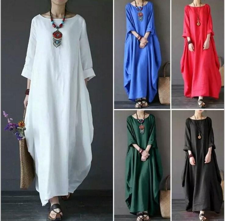 a00ec36136181 Femmes coton robe de lin grande taille caftan lâche occasionnels boho chic  une ligne balançoire robes maxi ourlet asymétrique pour la plage ...