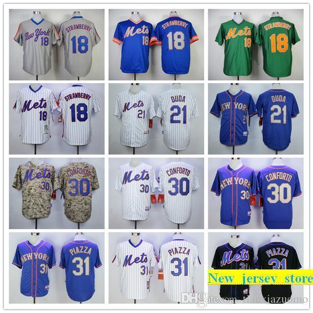 8c177f02cbb 2019 Mens Mets 18 Darryl Strawberry 21 Lucas Duda 31 Mike Piazza 100 ...