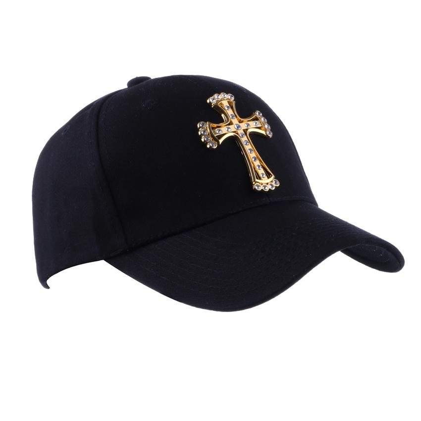 Snapback Baseball Cap With Gold Diamond Jesus Cross Badge Black Breathable  Plain Hip Hop Hat Ny Maple Leaf Low Profile Sunbonne Cap Hat Flat Caps For  Men ... d01f9af4488