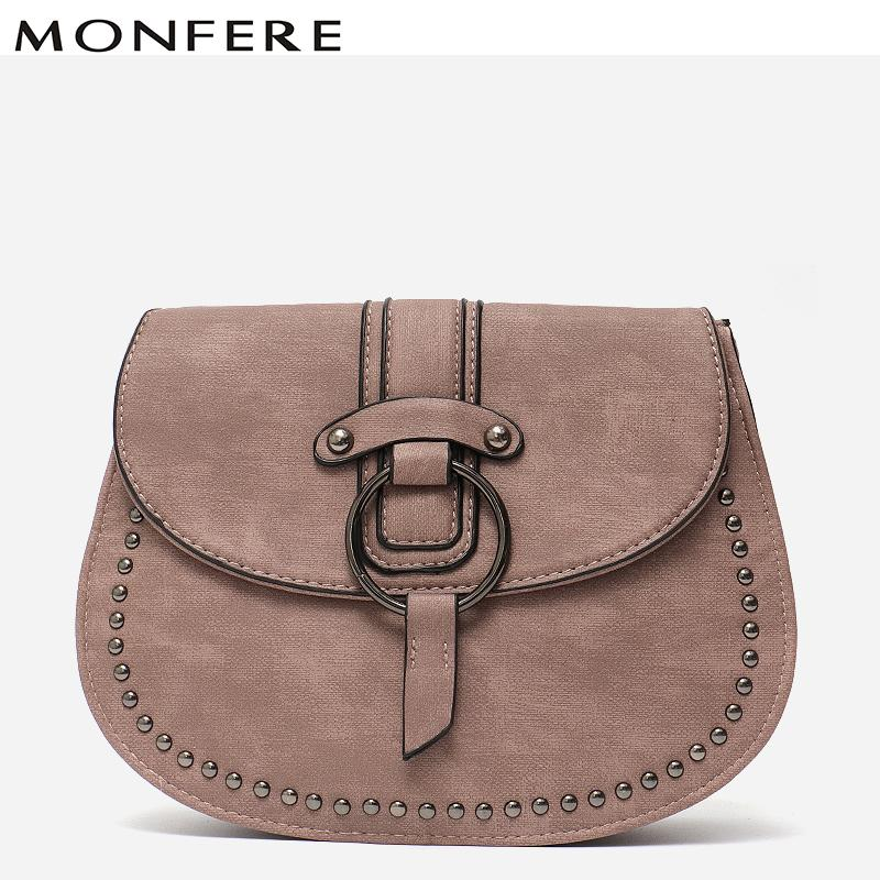 2019 Fashion MONFERE 2018 Hot Crossbody Bags For Women Casual Mini Vintage  Color Messenger Bag For Girls Flap Pu Leather Studs Shoulder Bags Ladies  Handbags ... 7bd29dafd5709