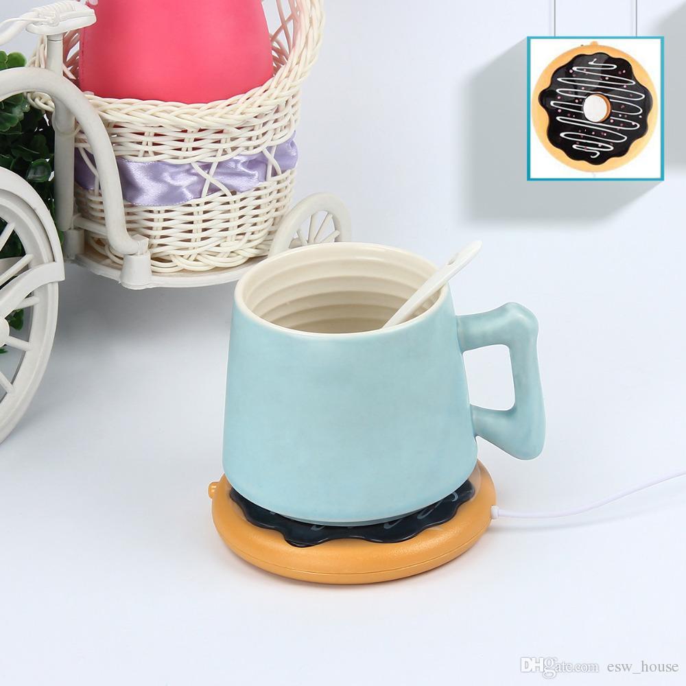 Criativo Gigante Donut USB Cup warmer Bonito Caneca De Biscoito Quente Warmer Coaster Escritório Chá De Café Bebida USB alimentado Aquecedor Bandeja Biscuit Pad