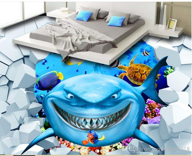 Satın Al Okyanus Dünya Shark Açık 3d üç Boyutlu Boyama Yer Karoları