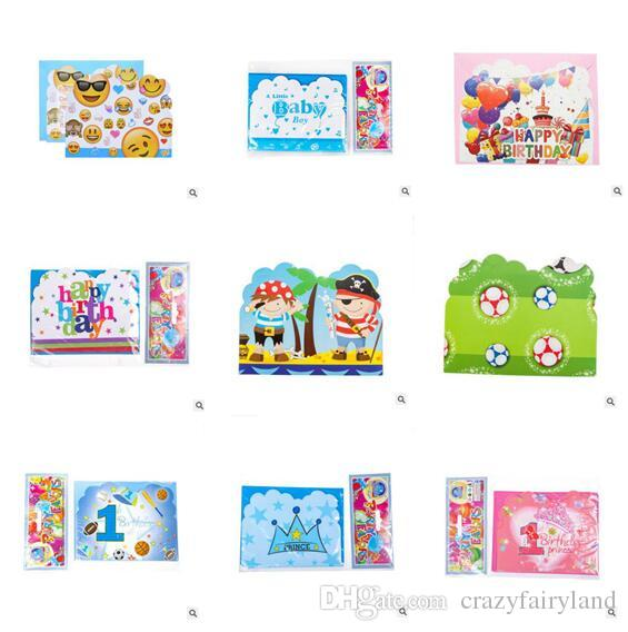Paper Birthday Invitation Card Flamingo Unicorn Girls Boys Cartoon Crown Happy Party Cards Kids Greeting Supplies 2nd