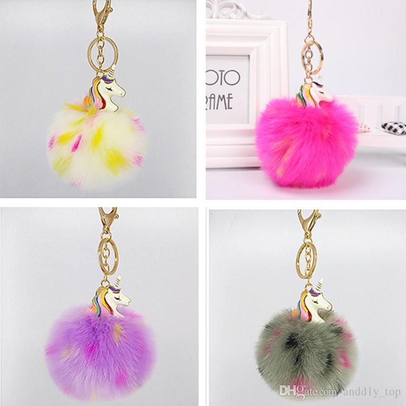 38499c84ae9c 2019 2018 Unicorn Car Pom Pom KeyChain Bag Charms Jewelry For Women  Artificial Fur Ball Key Chain Colors Pompom Keychains From Andd1y top