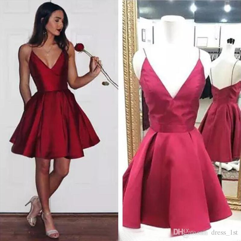Cheap Red Short Homecoming Dresses Spaghetti Straps V Neck Cocktail Party Dresses Burgundy Satin 8th Graduation Prom Dresses