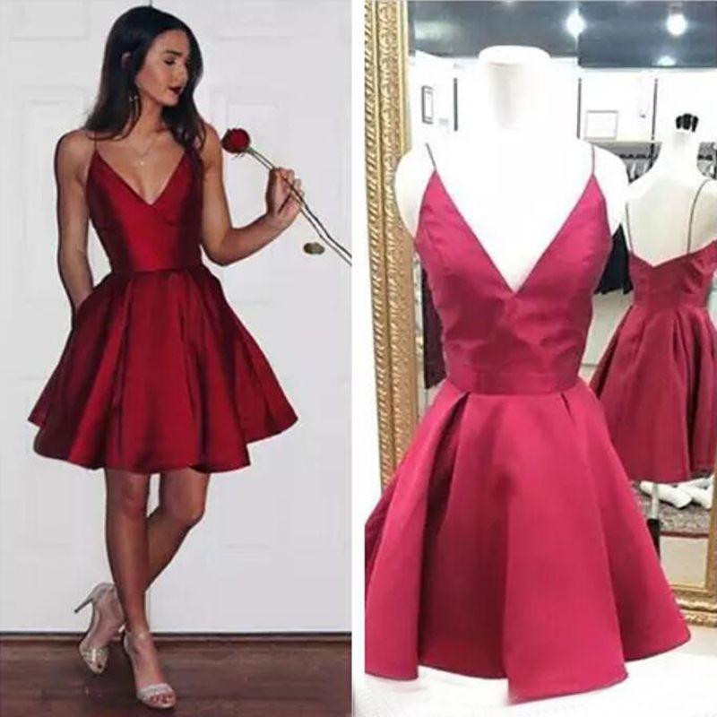 3bb037538 Compre Vestidos Baratos Del Regreso Al Hogar Rojo Corto Correa De Hombro  Fina Vestido De Cóctel Modesto Vestido De Baile De Cuello En V Oscuro 8vo  Grado A ...