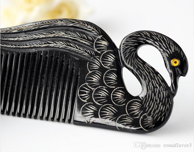Black Swan Design Naturel Corne de buffle Peigne Dent Large Non-statique tête Massage Brosse À Cheveux Soins de Santé Coiffure peignes Livraison Gratuite