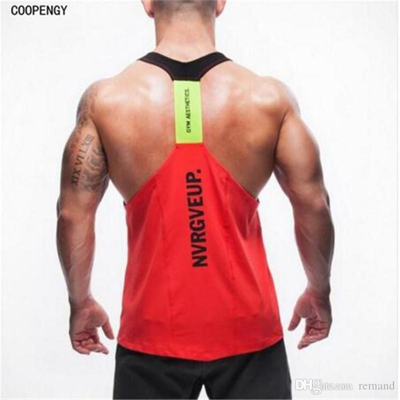 f724f300741b1d 2019 Wholesale 2017 New Tank Tops Men Bodybuilding Vest Stringer Y Back  Racer Quick Drying Tops Workout Clothes From Remand