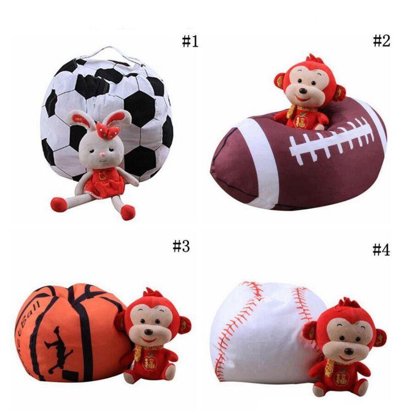 Football Basketball Baseball Storage Bean Bag 26inch Stuffed Animal Plush Pouch Bag Clothing Laundry Storage Organizer