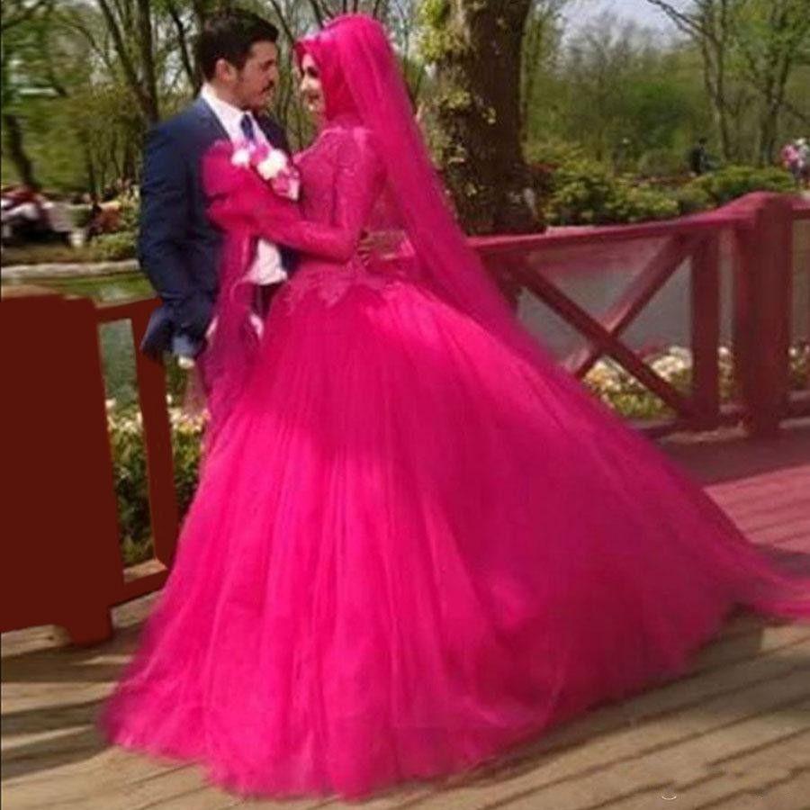 Бальное платье фуксия с длинным рукавом платья выпускного вечера высокого шеи Saudi Arabic Официальные вечерние платья Пром платья Vestidos де Festa специального случая платье
