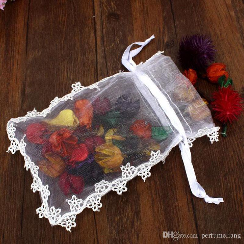 13x17cm Blanc Rustique Petite Dentelle Organza Fleur Favor Sacs De Mariage Et Fête Cadeau Sacs Pochette De Bonbons Sacs ZA6473