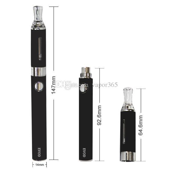 EVOD Blister E cigarette Kits 2.4ml Atomizer Vape Glass Tanks 510 Thread Vape Battery Starter Kit Vaporizer Pens Thick Oil Cartridges ecig