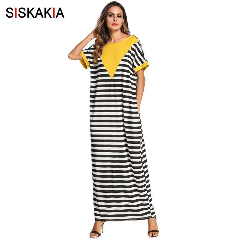b643270b174 Großhandel Siskakia Schwarz Weiß Streifen Mode Kontrast Farbe Patchwork T  Shirt Langes Kleid Für Frauen Sommer 2018 Plus Größe Maxi Kleider Von ...