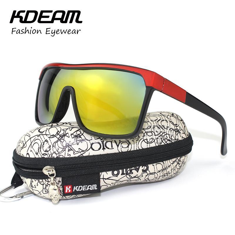 319f7bc8e KDEAM Flynn Sport Shield Sunglasses Women Outside UV400 Protection Man Sun  Glasses Vintage Goggles With Brand Hard Box KD802R Black Sunglasses Cycling  ...