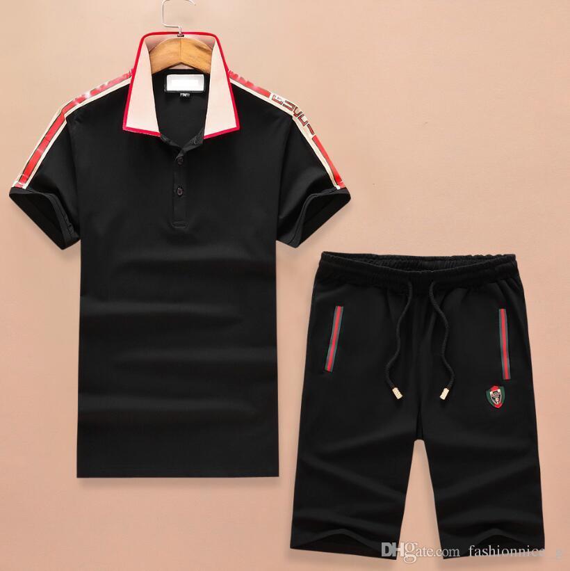 New Fashion Women Men s Lapel Polos Casual Polos Shorts Pants Brand ... 8774add2f