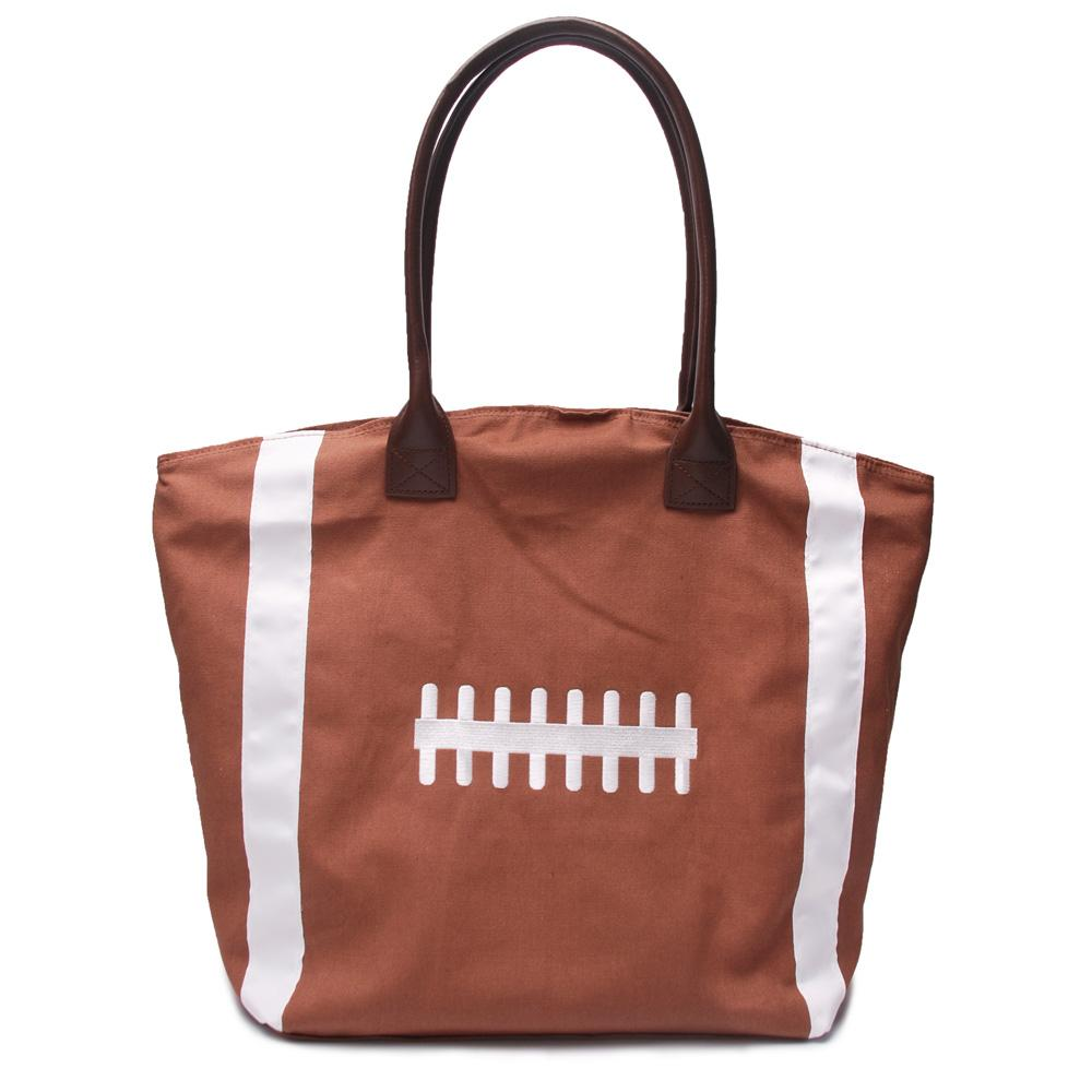 Embroidery Canvas Football Tote Wholesale Blanks Carryall Rugby Purse with PU Handle and Magnetic Snap Closure Sports Handbag DOM106292