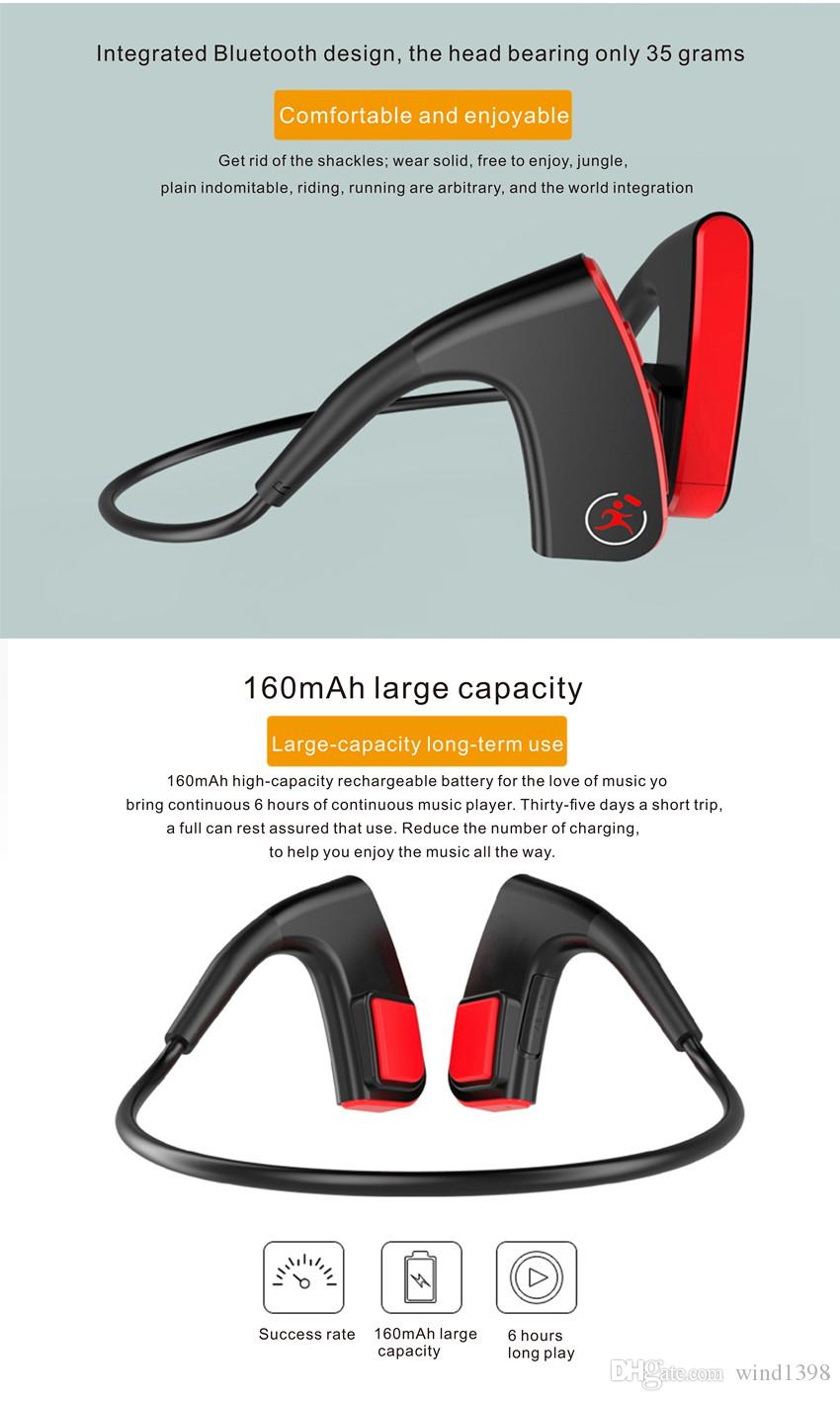 Latest E1 Bone Conduction Bluetooth Headphones Wireless Stereo Bass Hifi Headsets Noise Cancelling Outdoor sport Earphones