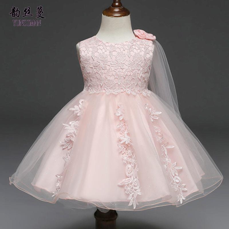 eccaf4ce2 Compre Vestidos Para Niña 3 6 9 12 18 24 Meses Vestido De Novia De Encaje  Blanco Princesa De Flores Primer Cumpleaños Vestido De Fiesta De Niña  Recién ...